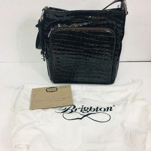 Brighton Shoulder Bag Black Embossed Leather 3B